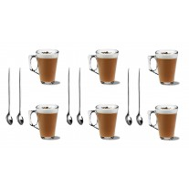 6x 240ml Latte Mugs + 6x Latte Spoons