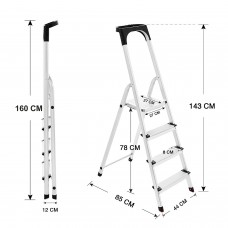 Aluminium 4 Step Folding Ladder - High Safety Bar - Tool Tray - Lightweight